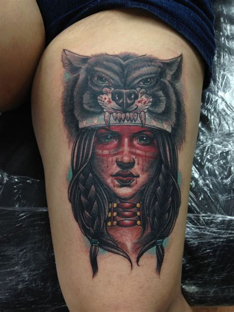 native american headdress tattoo american with wolf headdress by vetoe leg