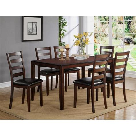 standard furniture bella 7 piece dining room set w bench standard height tahoe mango 7 piece dining set