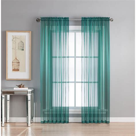 Grey And Teal Curtains Window Elements Sheer Sheer Grey Teal Rod Pocket Wide Curtain Panel 56 In W X 95