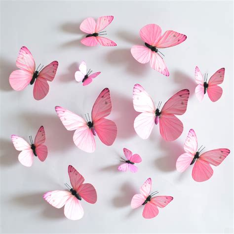 Paper Butterfly Decorations by New 2015 12pc Lot Pink Blue Purple Series 3d