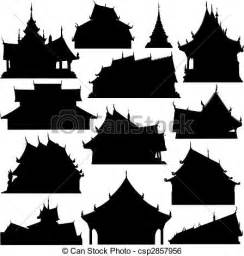 English Style House Plans Clip Art Vector Of Temple Building Silhouettes Editable