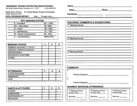 Congregation Publisher Record Card Template by Report Cards Behrman House Publishing