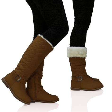 womens fur lined boots new womens quilted fur lined wide calf mid height