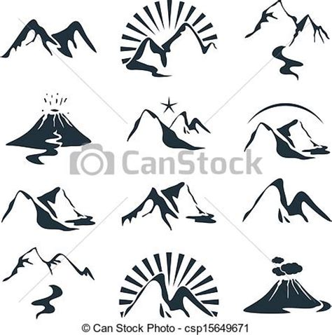 vectors illustration of mountains set icons set with