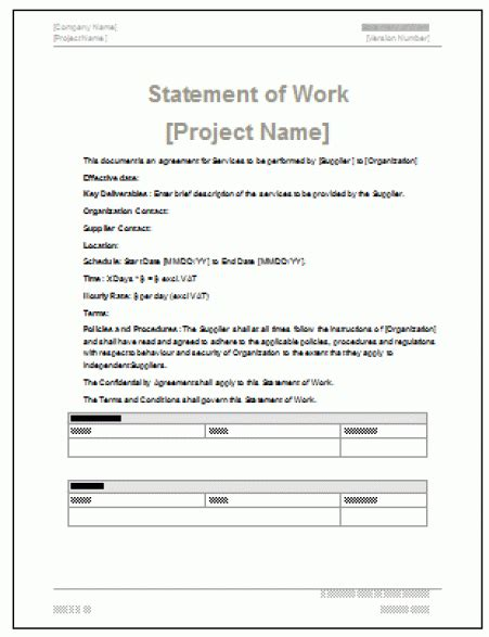 3 free statement of work templates word excel sheet pdf