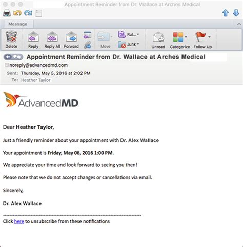 Appointment Reminders Included With Advancedpatient Appointment Reminder Template Email