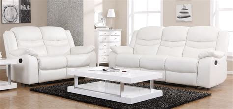 contour blossom white reclining 3 2 seater leather sofa set