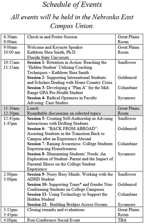 of nebraska lincoln schedule 2015 aaa conference academic advising association