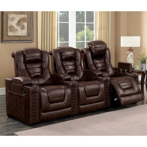 brown leather match  piece power home theater seating