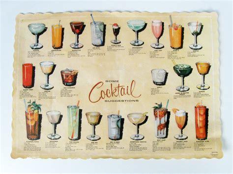 vintage cocktail party illustration vintage cocktail recipes paper placemat retro bar decoration