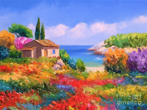 Duvet In French Little House By The Sea Painting By Tim Gilliland