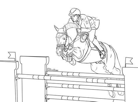 coloring pictures of horses jumping free show jumping lineart by silviasdesires on deviantart