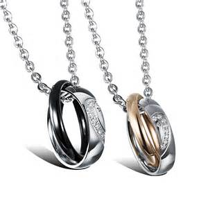 Engravable Necklace Heart Shaped Titanium Stainless Steel Matching Couples Necklace Pendant Set Yoyoon 10389