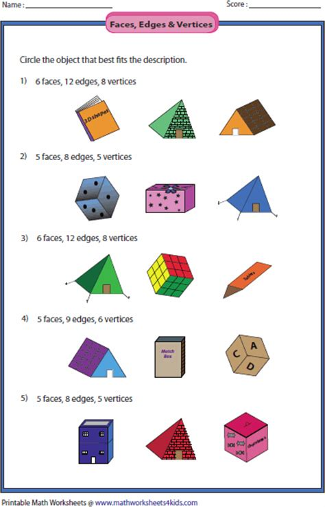 Identifying Faces Edges And Vertices Worksheet by Solid 3d Shapes Worksheets