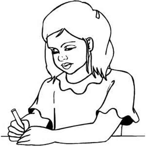 Girl Writing Coloring Page | girl writing note coloring page