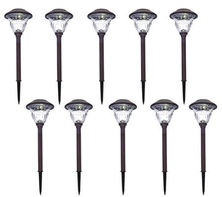 qvc outdoor solar lights energizer 10 pc solar landscape path light set qvc com