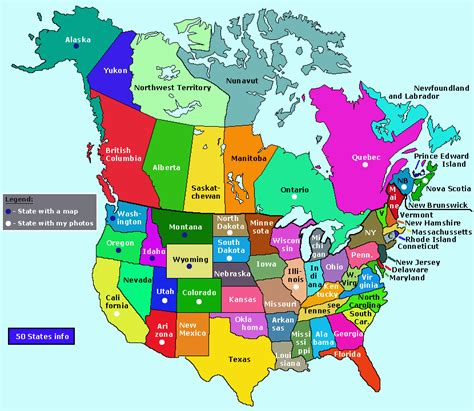 map of united states and canada showing states
