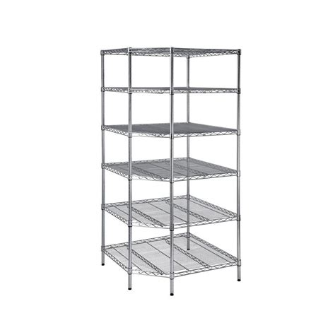 hdx wire shelving hdx 6 shelf 72 in h x 33 in w x 33 in d heavy duty wire corner shelving unit in chrome