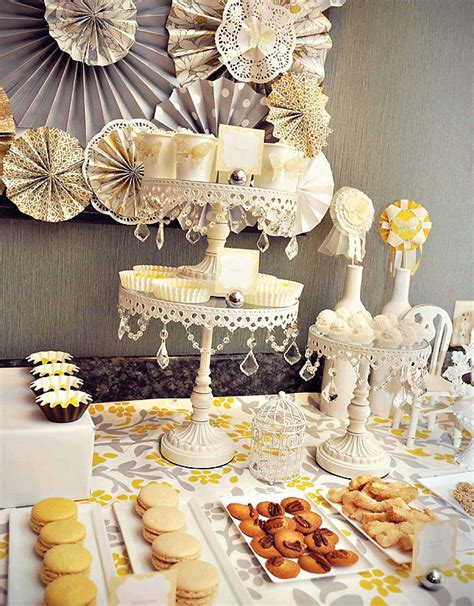 a yellow gray dessert table hostess with the