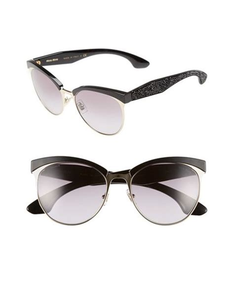 Kacamata Miu Miu Cat Eye Free Lensa Miu Miu 56mm Pave Cat Eye Sunglasses In Black Lyst