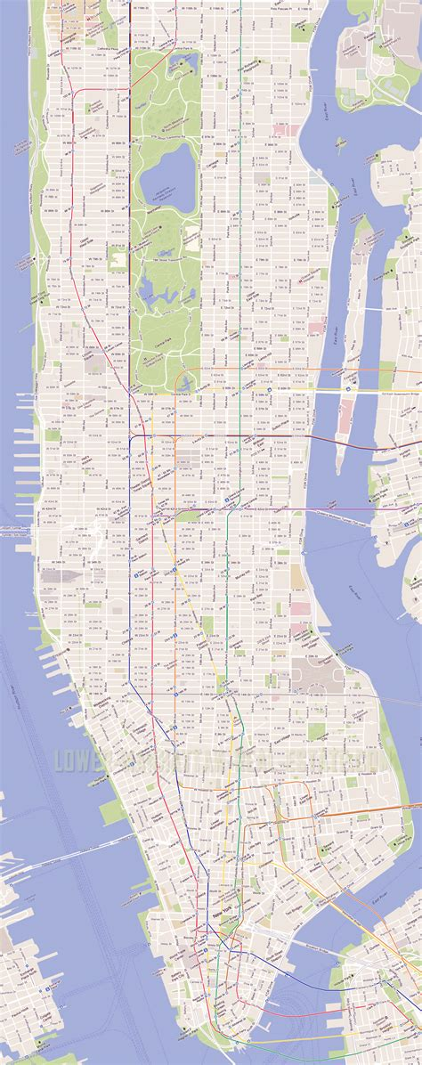 map manhattan streets detailed road streets map of manhattan nyc manhattan