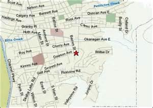 penticton canada map map of penticton