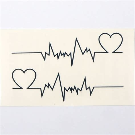 temporary body art tattoo sticker electrocardiogram heart