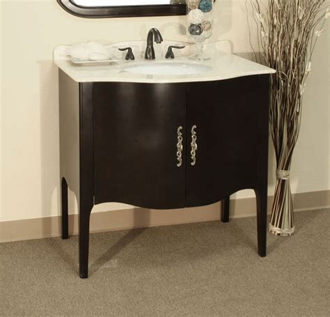 Apron Sink Bathroom Vanity by 36 6 Inch Traditional Curved Apron Single Sink Vanity By