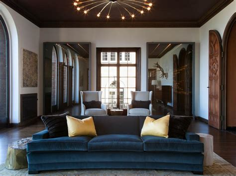 blue velvet sofa living room photos hgtv