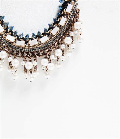 Kalung Zara Claris Necklace Grey zara chain and pearl necklace in gold only one lyst