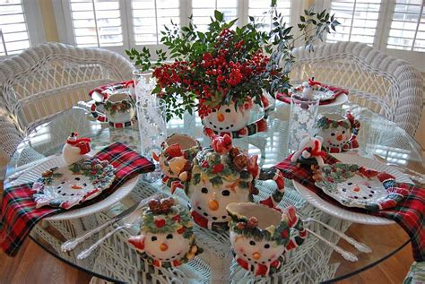 Kitchen Table Centerpieces Ideas winter tablescape with snowman plates plaid napkins and a