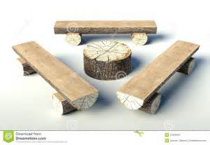 Antique Wooden Desk Chair Wooden Bench And Table Made Of Tree Trunks Stock Photo
