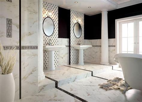 Ordinaire Carrelage Salle De Bain Noir #1: carrelage-salle-bain-noir-blanc-carrelage-marbre-blanc-motifs-noirs-vasques-pied-vintage.jpg