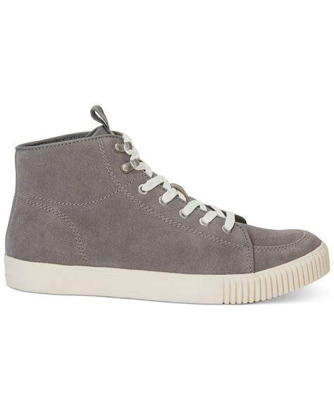 calvin klein sneakers mens calvin klein jenson high top suede sneakers in gray