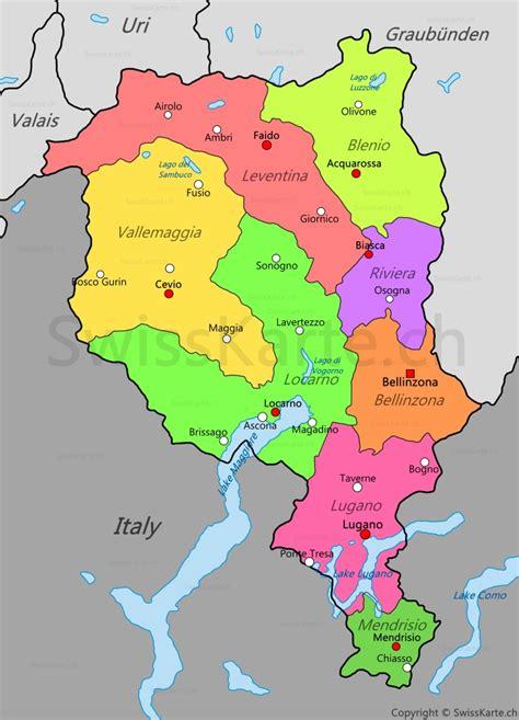 canton ticino map of ticino