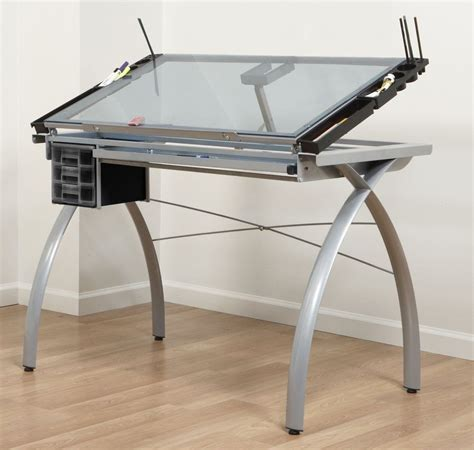 Drafting Table Glass Top Adjustable Drafting Table Stencil Glass Drawing Tracing Desk Work Station Ebay