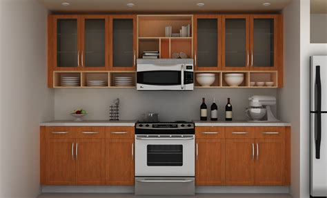 open cabinets functional small kitchen with yellow turmeric walls
