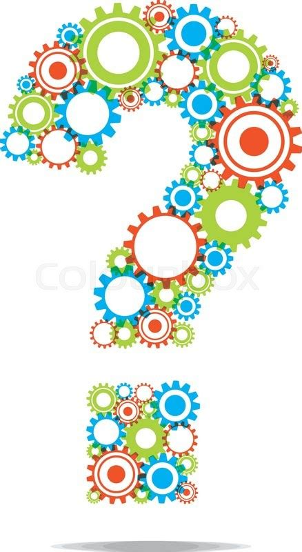 creative abstract question mark with transparent cog