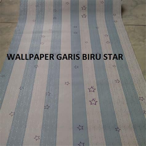 jual wallpaper stiker dinding garis biru bintang ukuran