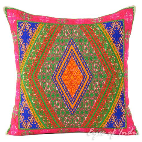 Pink And Green Decorative Pillows by Pink And Green Swati Decorative Cushion Pillow Cover