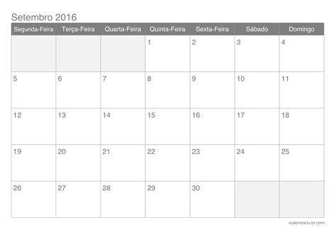 Calendario 2017 En Español Calend 225 Setembro 2016 Para Imprimir Icalend 225 Br