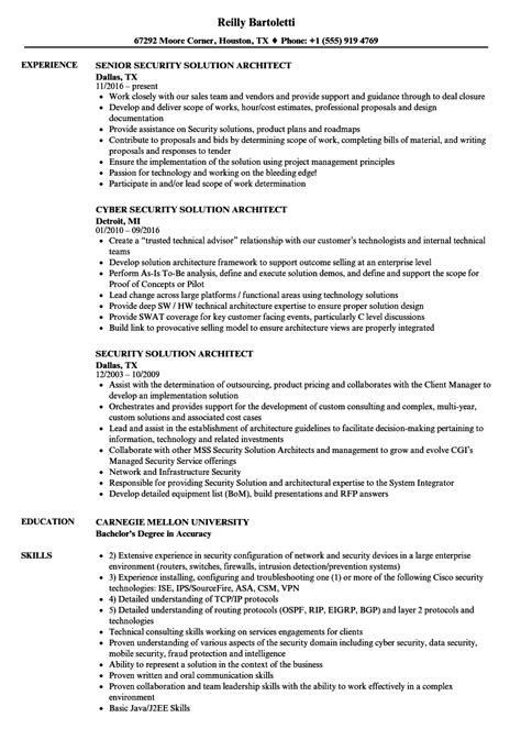 Solution Architect Resume by Security Solution Architect Resume Sles Velvet
