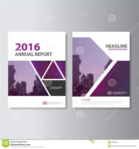 layout of a cover triangle purple annual report leaflet brochure flyer