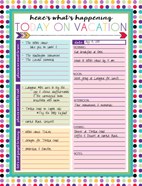 printable vacation planners free printable daily and weekly vacation calendars free