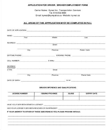 Application Form For Employment Template by Application For Employment Form 9 Free Word Pdf