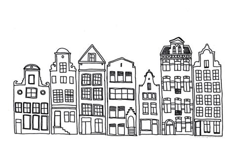 drawings of buildings in a row simple black and white line illustrations design form