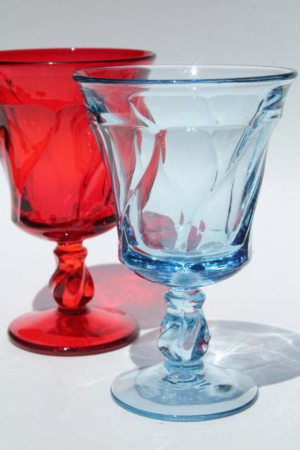 vintage red blue glass water goblets  wine glasses fostoria jamestown colored glass