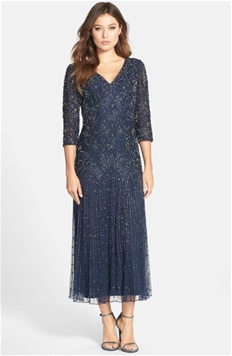 pisarro nights beaded mesh gown pisarro nights dropped waist beaded mesh dress in blue lyst