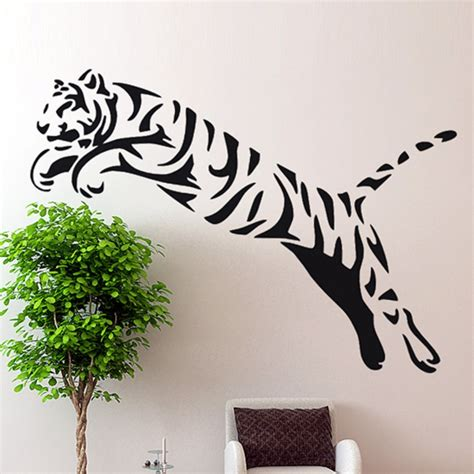animal wall stickers for bedrooms tiger wall sticker wild cheetah cat african animal tiger