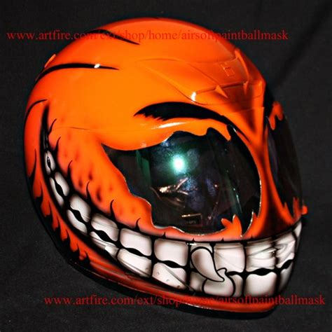 Handmade Motorcycle Helmets - custom motorcycle helmet superbike airbrush paint orange